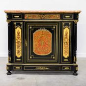 Boulle sideboard, marble top and mounted bronze. 1970 Length: 130 cm , Width: 41 cm, Hight: 111