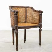 Side chair with double caning, LXVI style, 1920's. (Caning to restore) Length: 57 cm , Width: 48 cm,