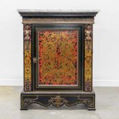 1970's Boulle cabinet, mounted with bronze and marble top. Length: 85 cm , Width: 40 cm, Hight: