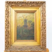 Unsigned, Windmill and ship, Oil/panel, 1907, Gilt wood frame. Length: 0 cm , Width: 32 cm, Hight: