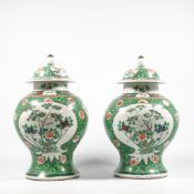 Pair of Chinese vases with lid, famille verte