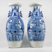Pair of Chinese vases, blue white.