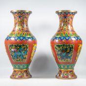 Exceptional pair cloisonnÈ vases