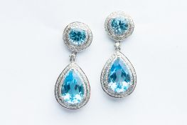 A Pair of 14ct White Gold Blue Topaz & Diamond Drop Earrings,