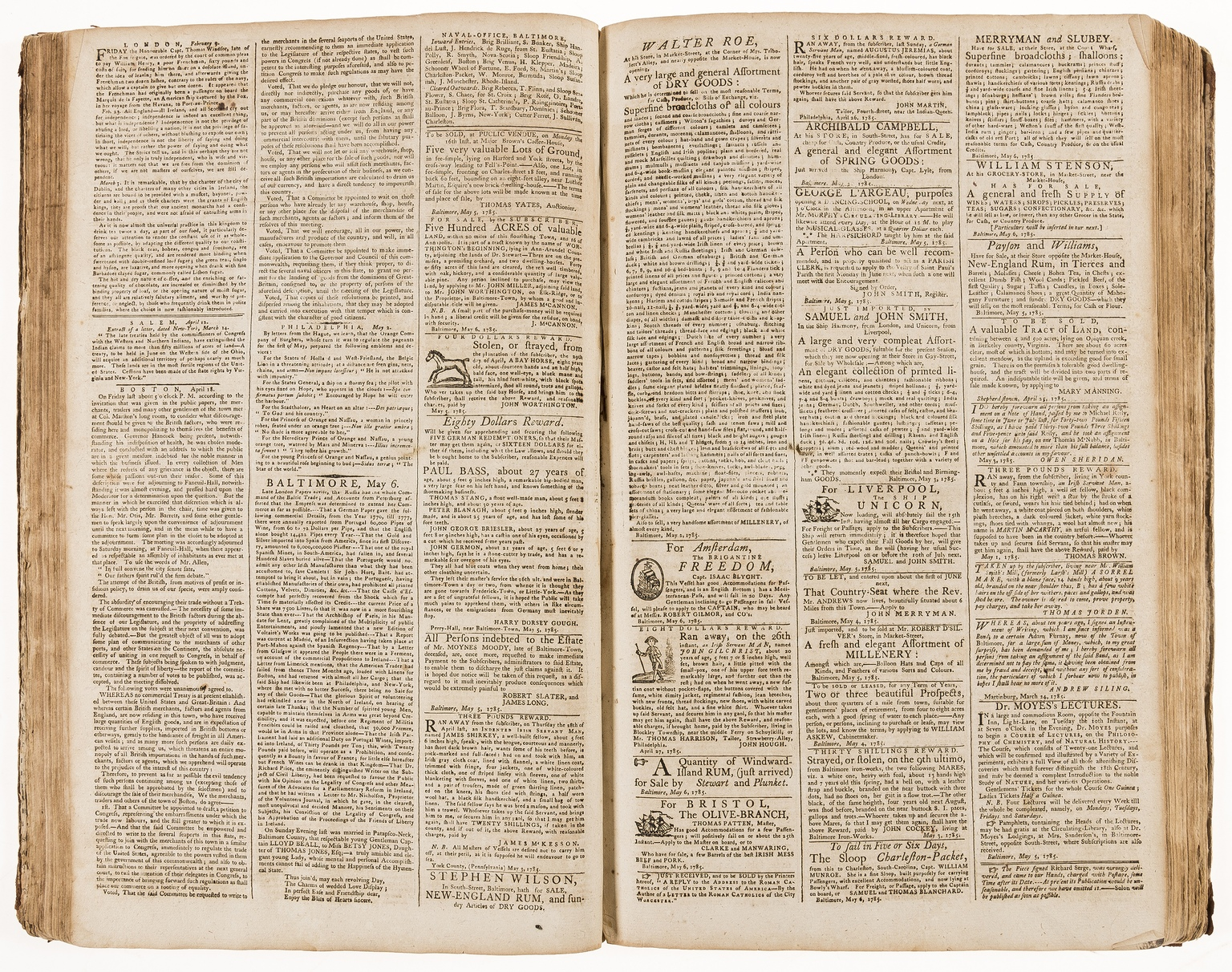 Lot 59 - America.- Maryland Journal (The) and Baltimore Advertiser, 104 numbers of vol. 12 in 1 vol., …