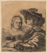 Rijn (Rembrandt van) Self Portrait with Saskia, Etching, 1636.