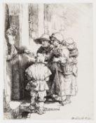 Rembrandt van Rijn (1606-1669) Beggars Receiving Alms at the Door of a House