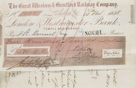 Great Western & Brentford Railway Company. Vouchers 1855-6, accounts book of pasted-in receipts, …