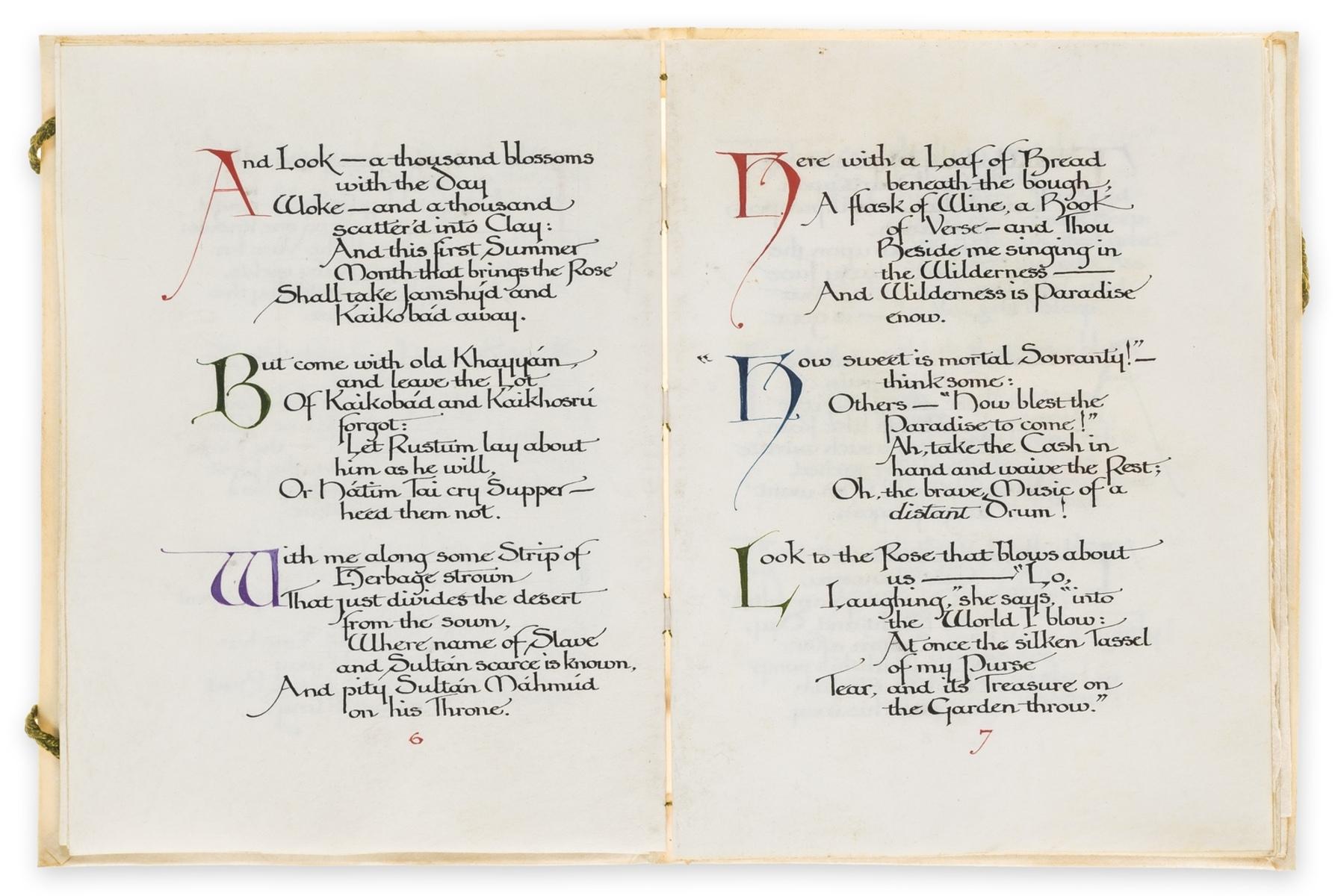 Calligraphic manuscript.- Omar Khayyam. Rubaiyat, illuminated calligraphic manuscript by Alberto … - Image 5 of 6