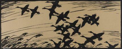 Peter Markham Scott (1909-1999) Canada Geese Taking Flight