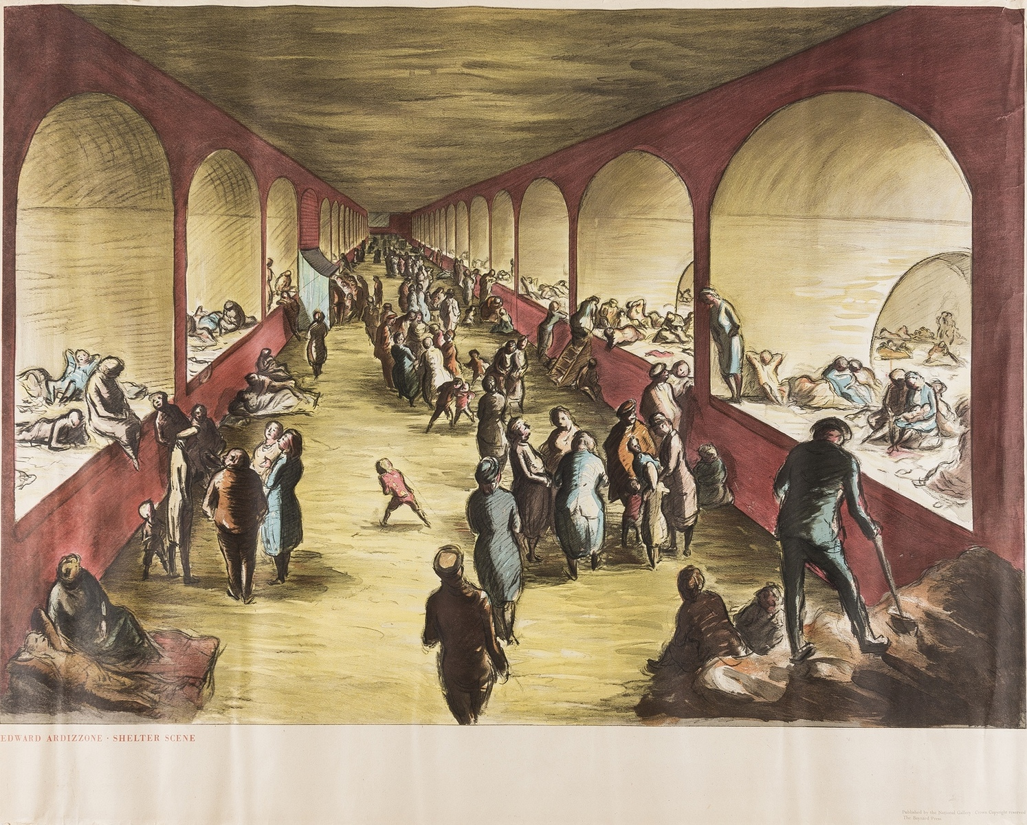 British Art.- Ardizzone (Edward) Shelter scene, [c. 1941]; and over 12 other posters and prints by … - Image 2 of 2