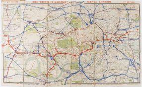 London.- Railways.- Map of London. The District Railway, fifth edition, W. J. Adams & Sons, …