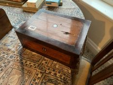 Inlaid sewing box & contents