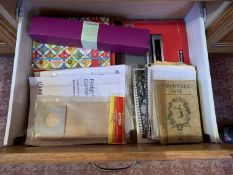 Contents of drawer including recipe books