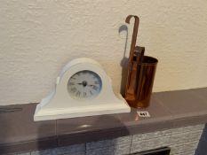 2 brass measures & mantel clock