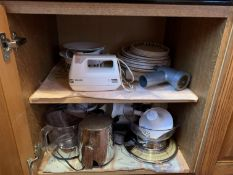 Contents of cupboard inc Salter scale