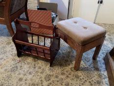 Small upholstered stool & magazine rack