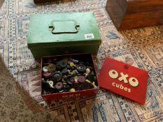 OXO tin of buttons & cash tin
