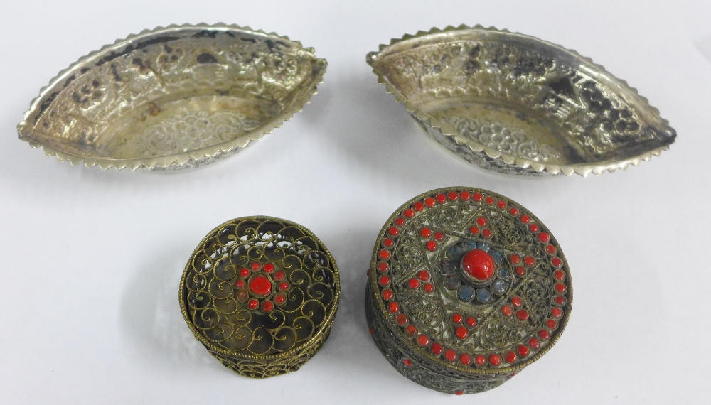 Lot 17 - Two Eastern white metal dishes and two Indian style boxes (4)