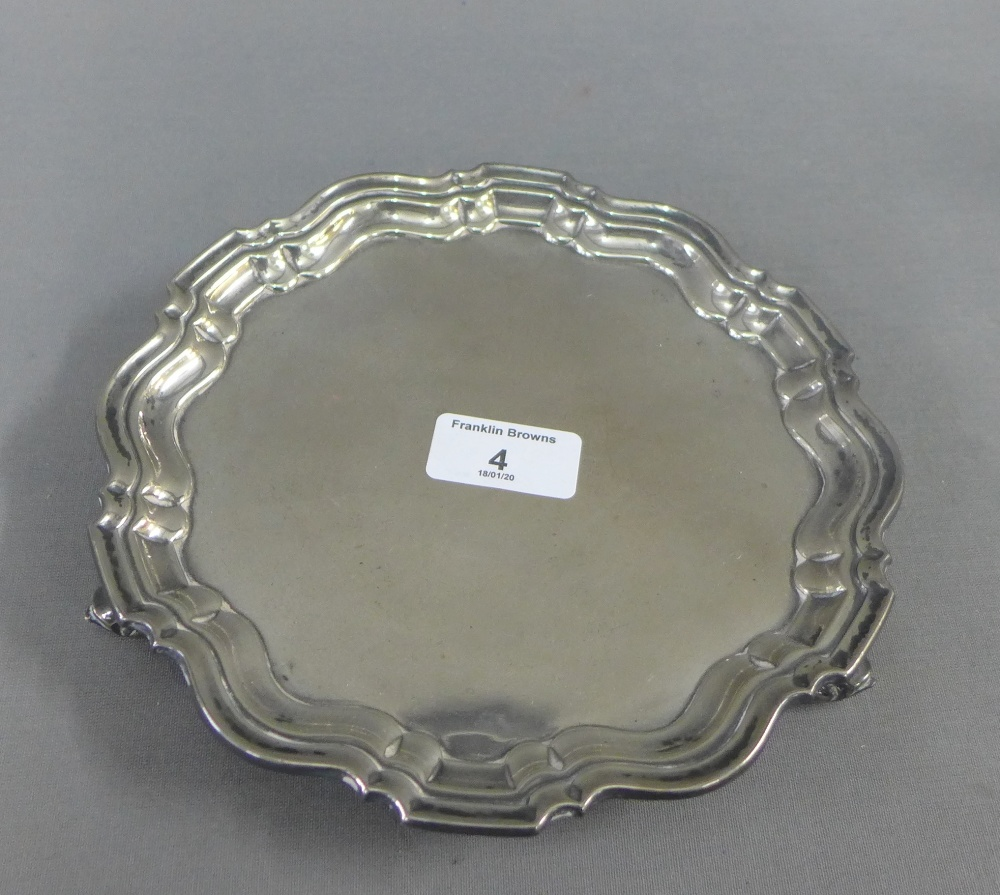 Lot 4 - George V silver pie crust salver, Chester 1927, 20cm diameter
