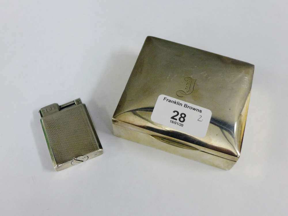 Lot 28 - George V silver box, with hinged lid and cedar lining, Chester 1912 together with a Everest silver
