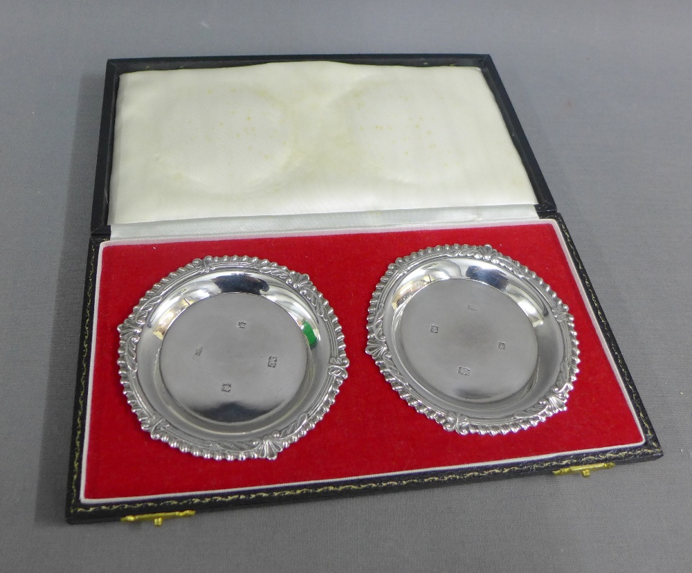 Lot 56 - A pair of silver dishes in fitted case, makers marks for AT Canon Ltd, Birmingham 1971 (2)