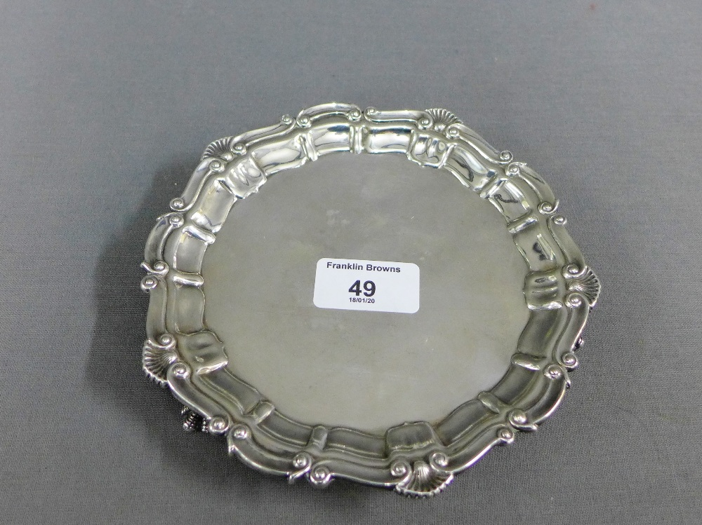 Lot 49 - Silver card tray with shell border, Birmingham 1972, 17cm diameter