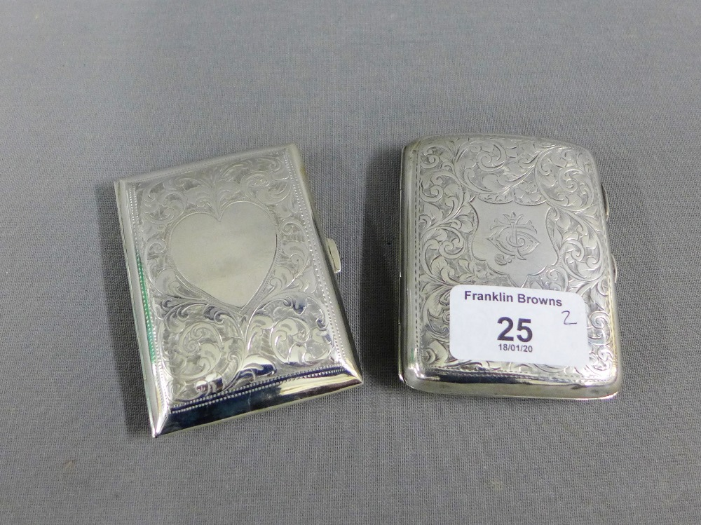 Lot 25 - Edwardian silver cigarette case, Birmingham 1909 together with another circa 1908 (2)