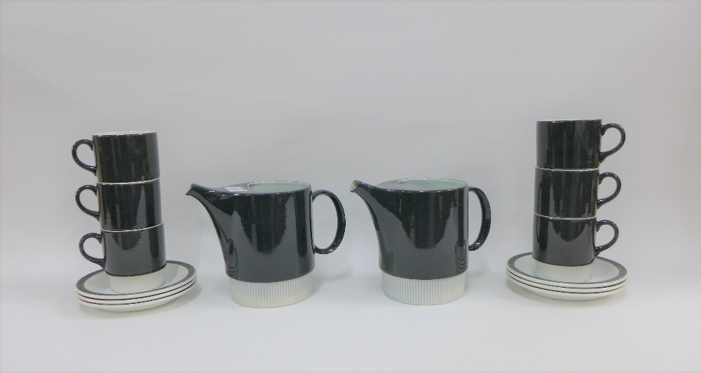 Lot 287 - Poole pottery black and white glazed retro coffee set (14)