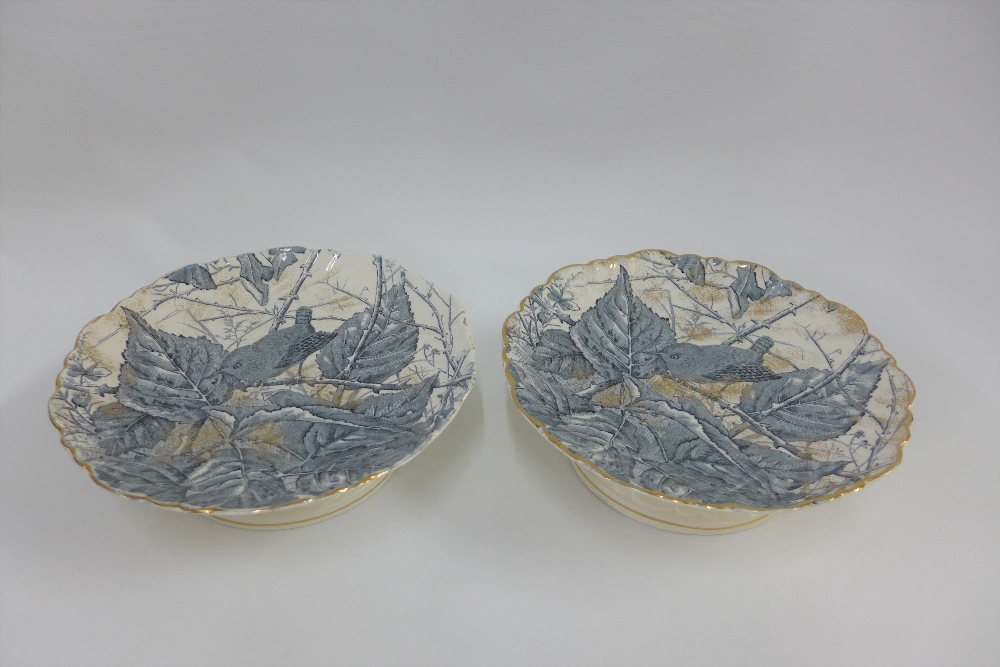Lot 275 - Pair of Victorian Wren patterned tazza, Reg No 1419280, 20cm diameter (2)