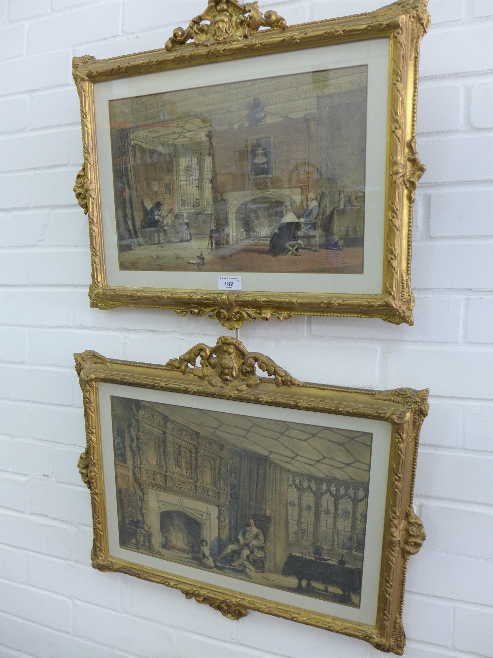Lot 182 - Pair of coloured prints in glazed and ornate gilt frames, sizes overall 55 x 48cm, (2)