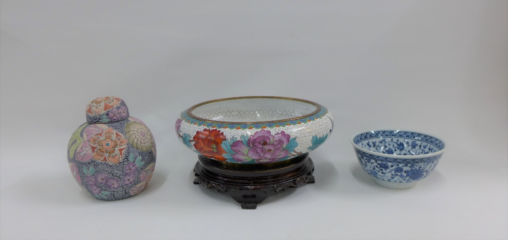 Lot 281 - Modern cloisonne bowl, Japanese blue and white bowl and a ginger jar and cover (3)