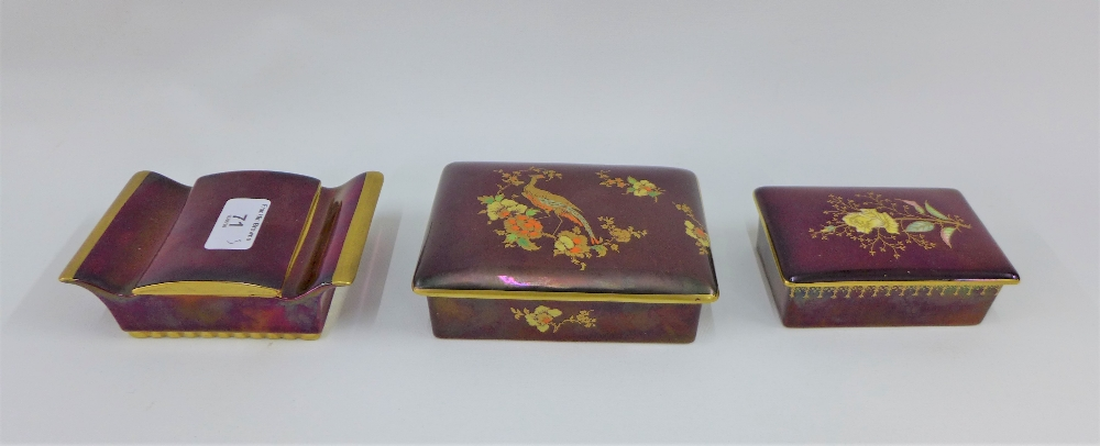 Lot 71 - A collection of three Carlton Ware Rouge Royale boxes with covers, largest 13cm (3)
