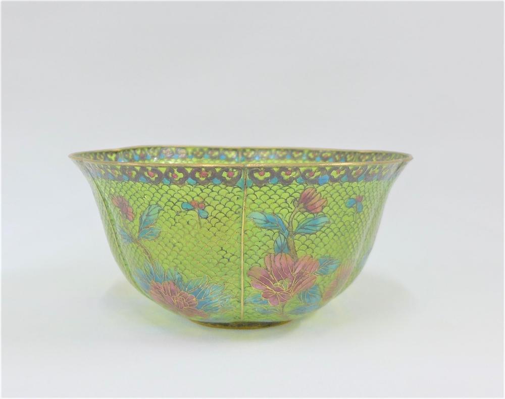 Lot 199 - Plique a jour green glass floral patterned bowl, 18.5cm diameter