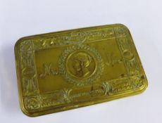 WWI Christmas 1914 Queen Mary brass tin with original unopened tobacco and cards, etc
