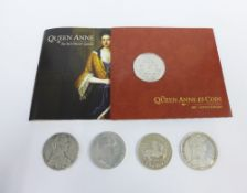 Coins to include two Maria Theresa Thalers, Queen Anne 300th anniversary £5 coin, reproduction