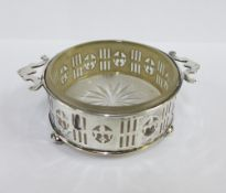 George V silver and glass butter dish, Birmingham 1924, 10cm