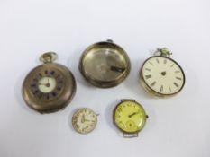 Continental silver half hunter pocket watch, silver pocket watch case and wristwatch faces, etc (a