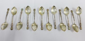 Set of twelve silver Gibraltar teaspoons, (12)