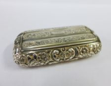 George IV silver gilt snuff box by Nathaniel Mills, with embossed foliate pattern and hinged lid,