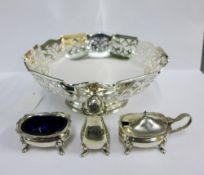 Birmingham silver three piece condiment set, Epns bowl, Epns photograph frame and a faux walnut