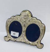 Modern silver double photograph frame, Carrs, Sheffield 1994, with strut back, 18 x 16cm