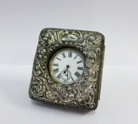 Edwardian silver fronted pocket watch stand, Birmingham 1904 together with a pocket watch (2) 8 x