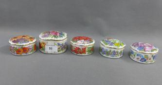 Ardleigh & Elliot musical porcelain boxes, (5)