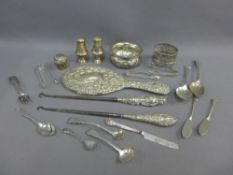 Mixed lot of silver items to include a Chester silver hand mirror, various teaspoons and butter