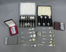 Set of six Arts & Crafts silver teaspoons, with coloured hardstone terminals, designed by Norah