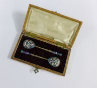 A cased pair of Russian silver gilt and cloisonne enamelled spoons, with 84 standard mark and