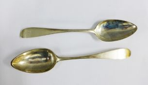Pair of Georgian Scottish silver tablespoons, Edinburgh 1788, likely Thomas Drydale, 23cm long (2)