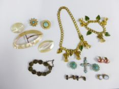 A collection of costume jewellery and shell buckles, etc (a lot)