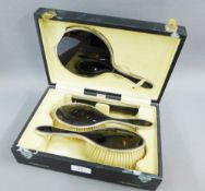 Cased silver and tortoiseshell dressing table brush set, Birmingham 1921, comprising two